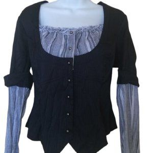 Champagne Black White Layered Top Size 9
